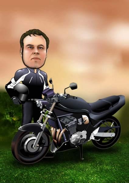 Ausdruckstarker Motorradfahrer