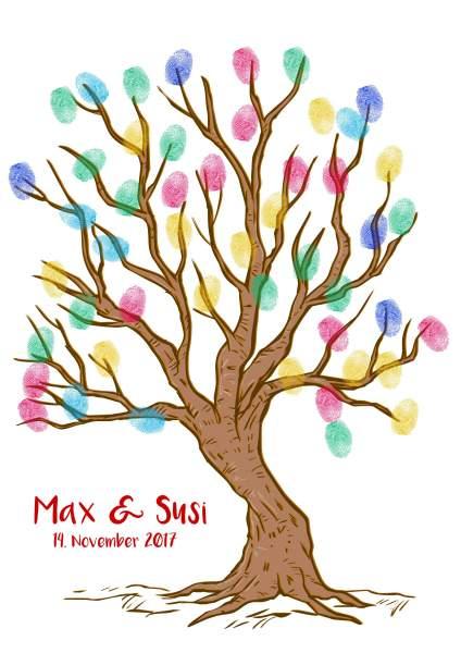 Fingerabdruck Baum für Hochzeitsgäste