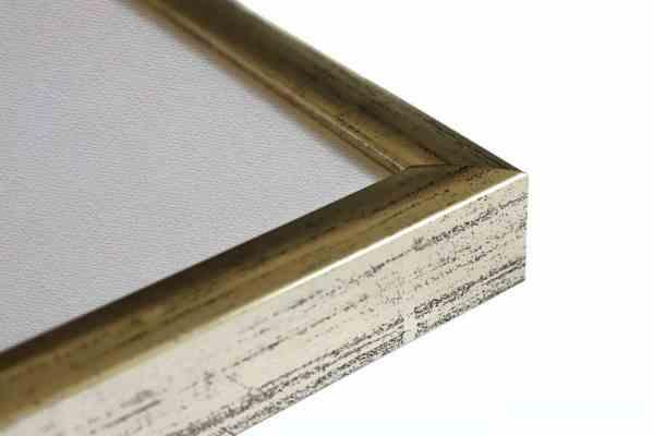 Standard Bilderrahmen Holz Weißgold auf Schwarz