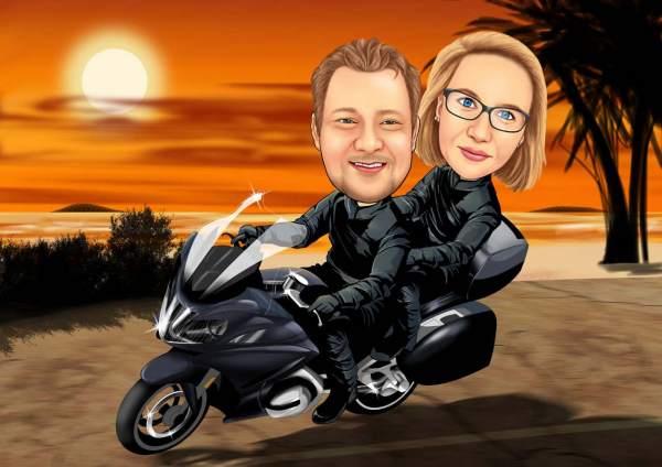 Sonnenuntergang mit dem Motorrad