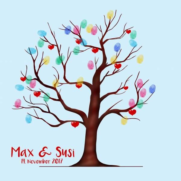 Fingerabdruck Baum Hochzeit blau