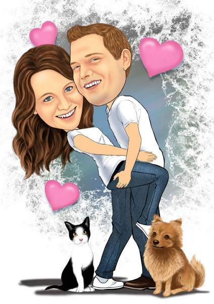 Verliebtes Paar und ihre Vierbeiner