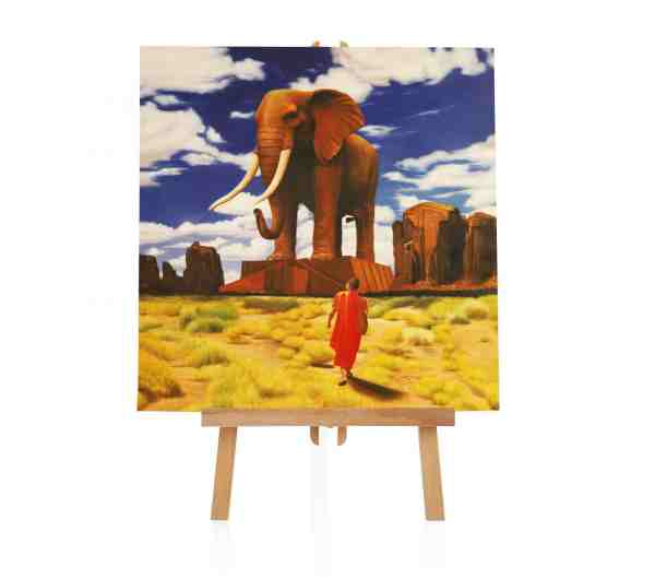 Mönch Elefant Ölbild