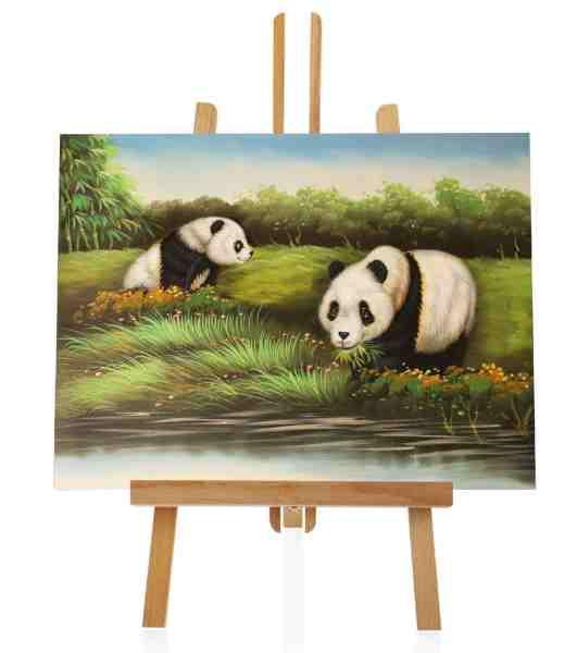 Ölbild trinkender Pandas