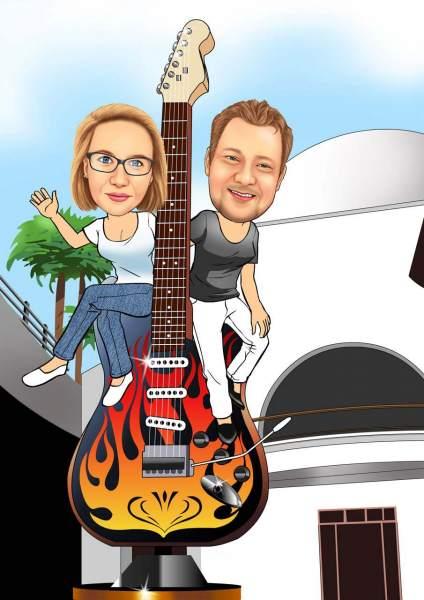 Hard Rock Musik Karikatur
