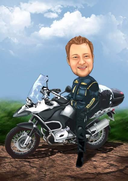 Stolzer Motorradbesitzer