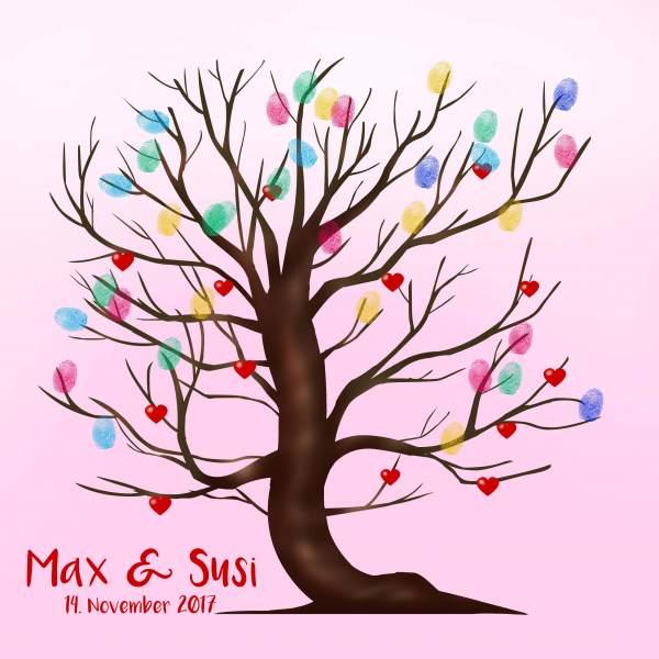 Fingerabdruck Baum Hochzeit pink