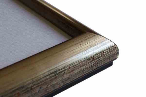 Stilvoller Holzbilderrahmen Mattgold Schwarzpoliment