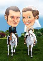 Brautpaar auf weißen Pferden