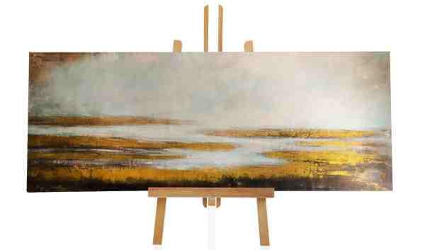 Abstraktes Ölbild mit goldener Farbe