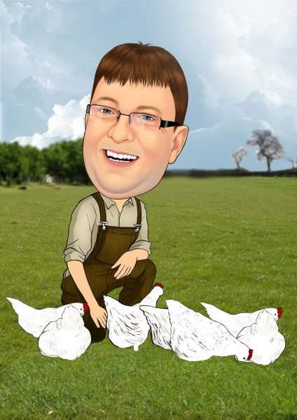 Der Bauer und seine Hühner