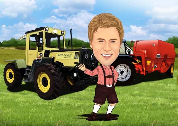 Fröhlicher Bauer mit seinen Fahrzeugen