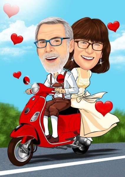 Bayrisches Paar auf dem Moped