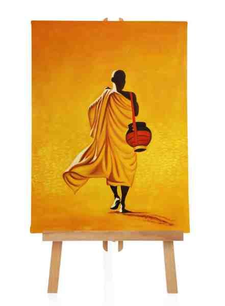 Laufender Buddha Ölbild