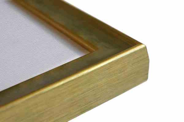 Stilvoller Holzbilderrahmen grünblau auf gold