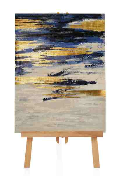 blau goldenes Acrylgemälde