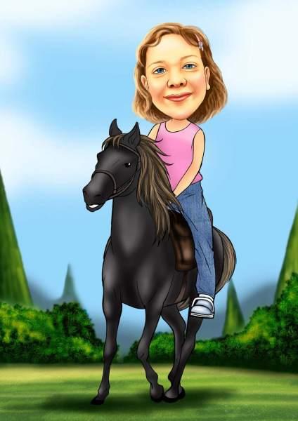 Eine Reitertour auf dem schwarzen Pferd