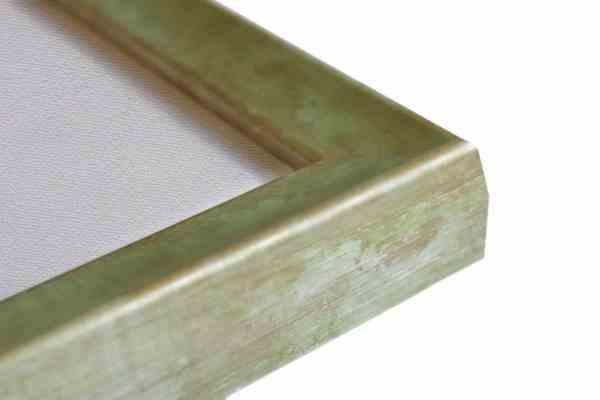 Stilvoller Holzbilderrahmen Blassgrün auf Struktursilber