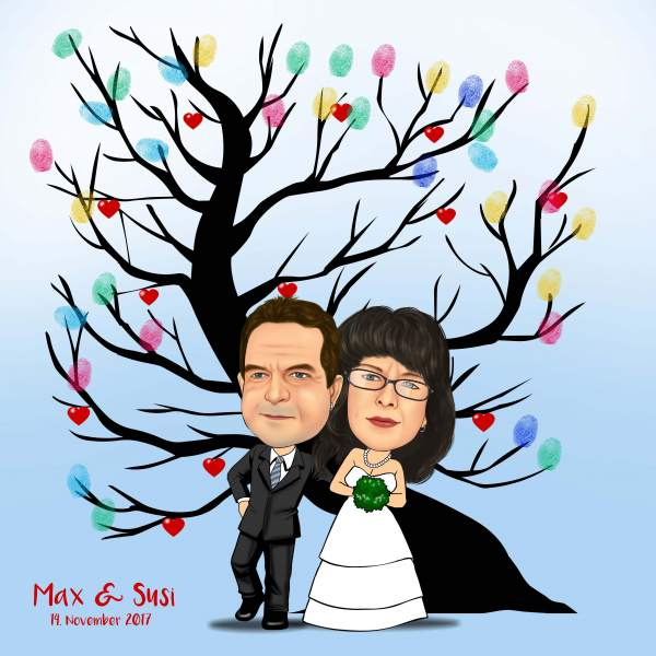 Fingerabdruck Baum Hochzeit Herzbaum