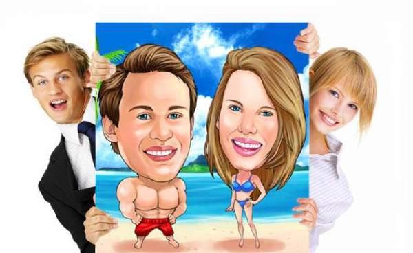 Karikatur von deinem Foto - 2 Personen inkl. Leinwanddruck in 50 x 70 cm