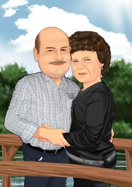 Verliebtes Paar auf der Brücke