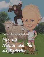 Karikatur von einer Person mit einem Tier