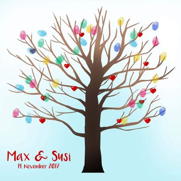 Fingerabdruck Baum Hochzeit türkis